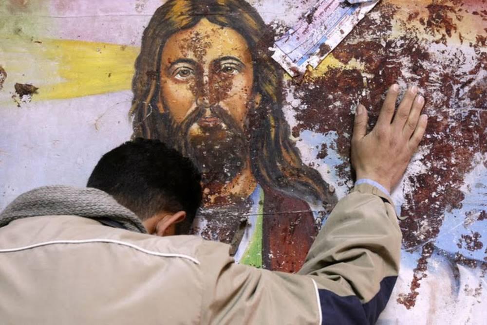 Immagine di Cristo crivellata dai proiettili in Siria