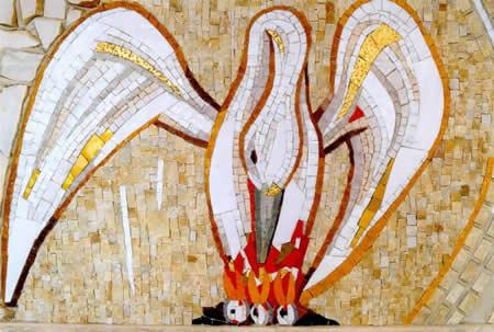 Rupnik. Mosaico del pellicano